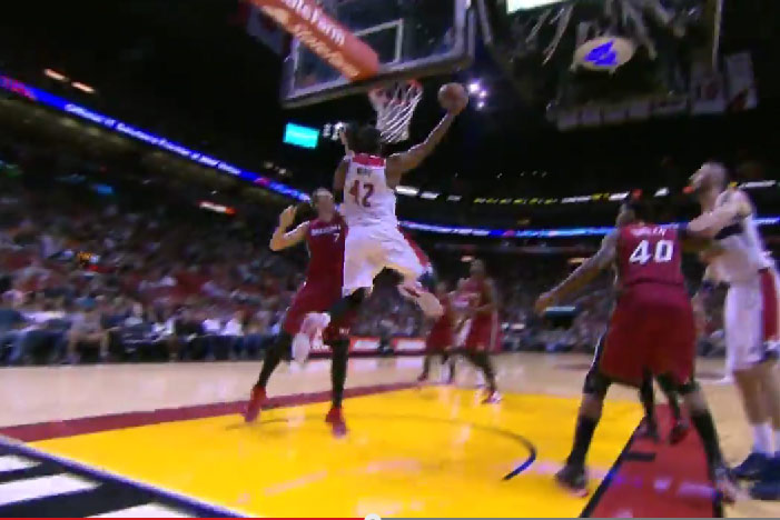 Nene with the spin & reverse dunk on Justin Hamilton