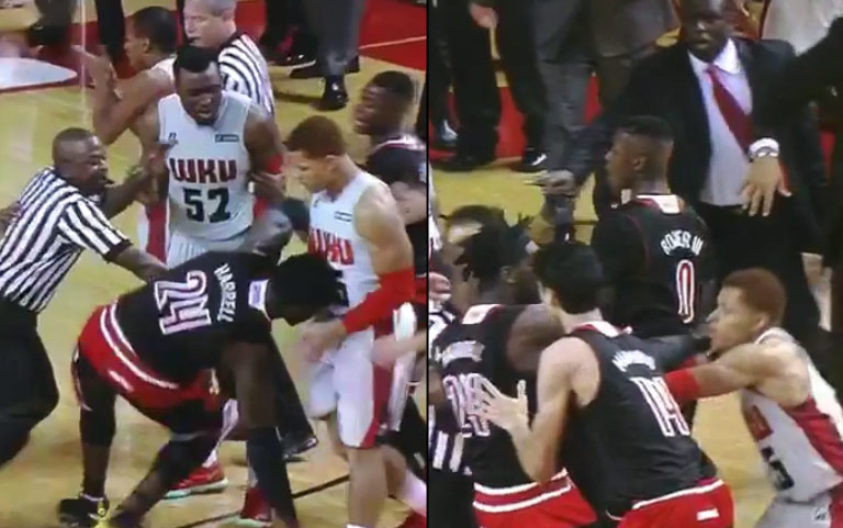 Louisville's Montrezl Harrell ejected after throwing punch against Western Kentucky, ref gets injured