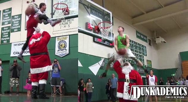 2 of the best dunkers in the world dunking over Santa