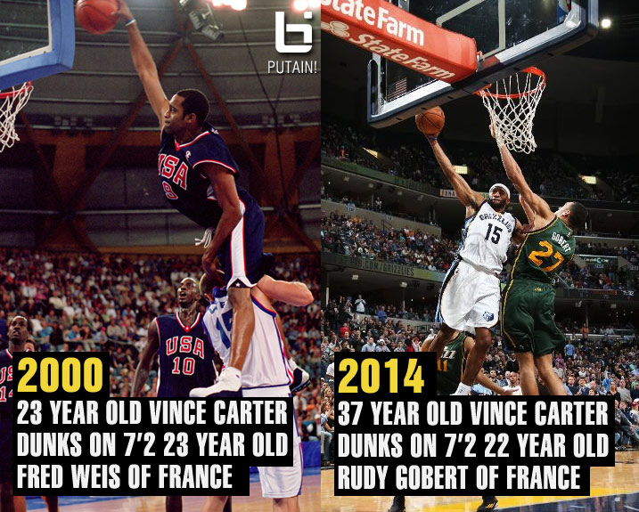 37 year old Vince Carter posterizes 22 year old 7'2 Rudy Gobert (14 years after Weis)