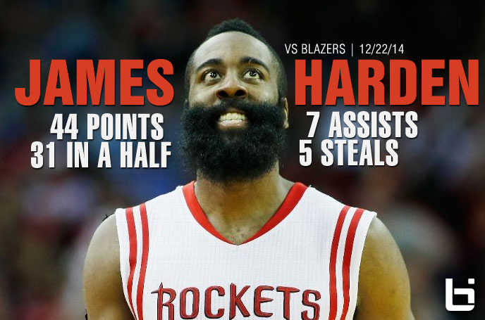 James Harden 44 points (31 in first half) & 7 assists vs Blazers