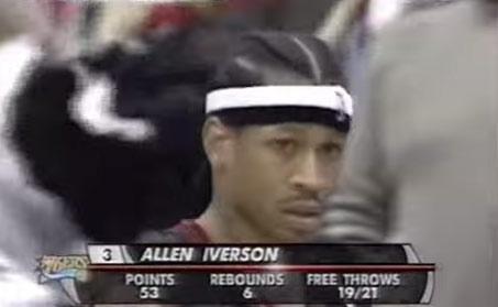 2005: Allen Iverson scored 53 but Joe Johnson (24/9/8) & the Hawks got the W