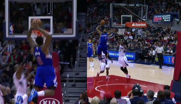 DeMarre Carroll avoided becoming Brandon Knight on this dunk by DeAndre Jordan