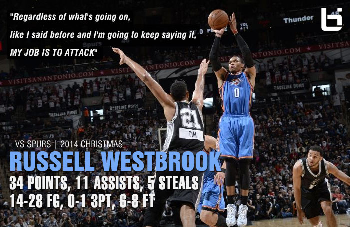 9 Minutes of Russell Westbrook destroying the Spurs on Christmas