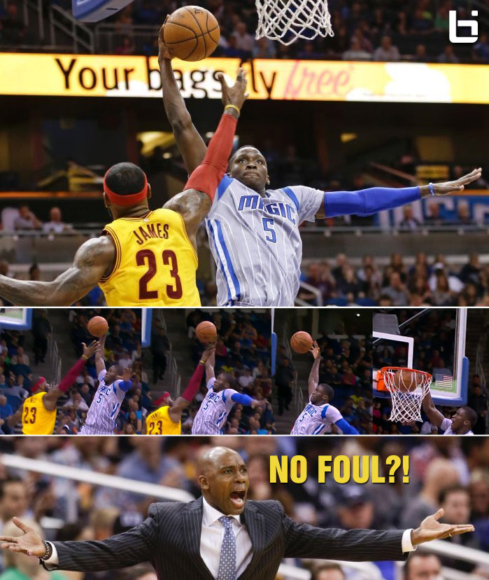 What? No foul on LeBron as Victor Oladipo throws down a dunk over the King