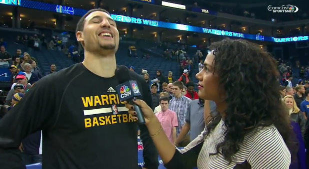 """Reporter asked Klay Thompson """"How much do you feed off of the D"""""""