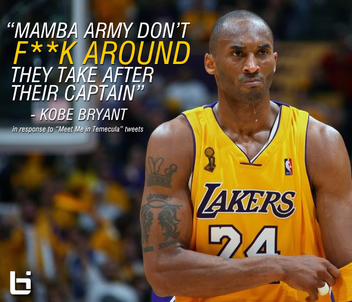 "Kobe Bryant Reacts to ""Meet Me in Temecula"" tweets, says ""Mamba Army Don't F**K Around"""