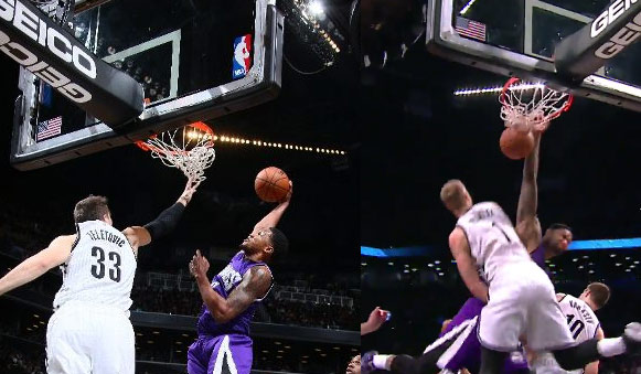 Rudy Gay & DeMarcus Cousins dunking all over the Nets