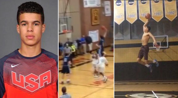 "HS Sophomore Michael ""Baby KD"" Porter Jr dunks on player from almost the free throw line"