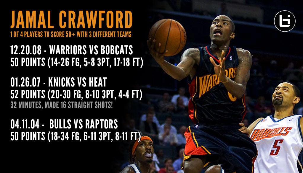 2008: Jamal Crawford drops 50 points on the Bobcats, becomes 4th player to score 50 on 3 teams