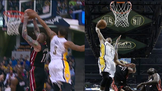 6'3 George Hill blocks Birdman Anderson on one end then dunks on him on the other