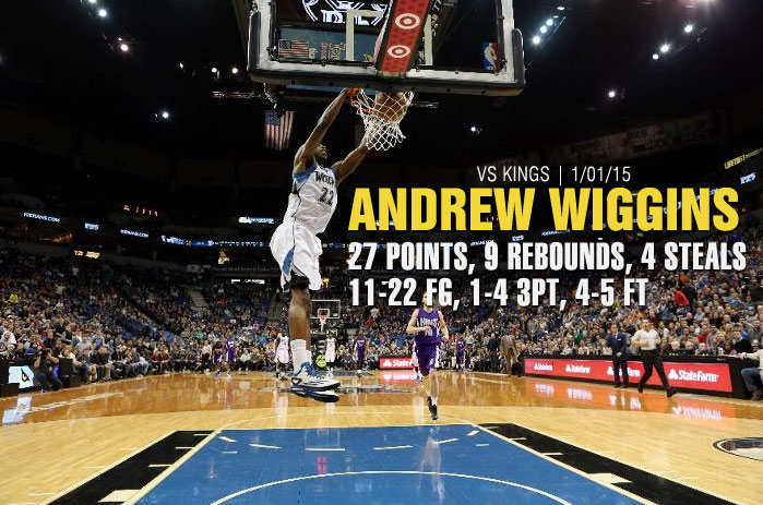 Andrew Wiggins 27pts, 9rebs, 4stls vs the Kings