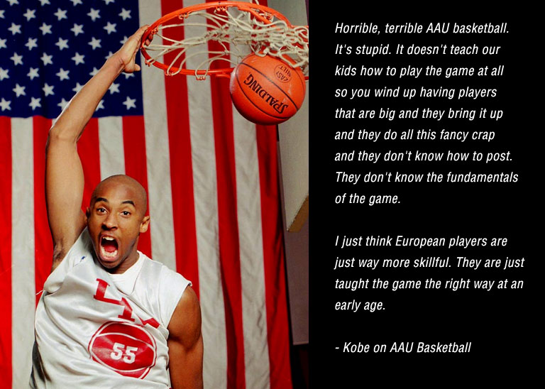 """Kobe Bryant goes off on AAU basketball, says Europeans """"are just way more skillful"""""""