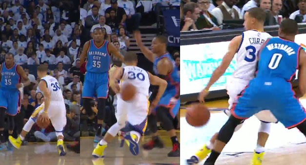 Steph Curry puts on a dribbling exhibition against Russell Westbrook