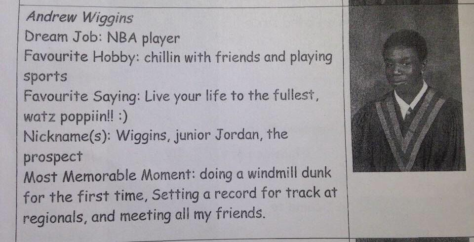 "Andrew ""Junior Jordan"" Wiggins' awesome 8th grade yearbook photo & video footage"
