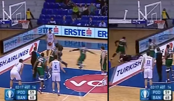 Turkish player sucker punches fan after fan goes onto the court and pushes a player