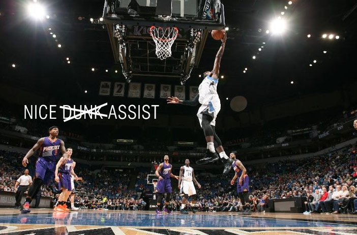 Shabazz Muhammad's airball dunk attempt turns into an assist