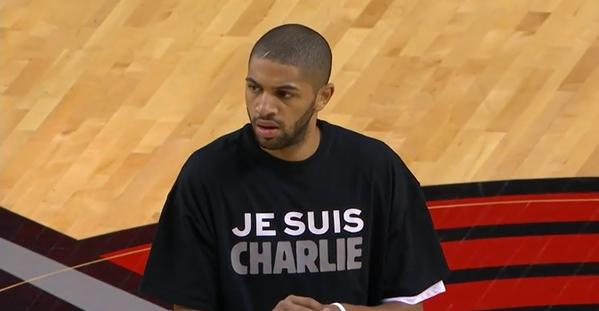 "Nicolas Batum wears ""Je Suis Charlie"" shirt honoring victims of Paris terrorist attack"