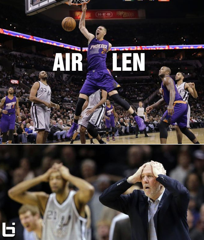 "Alex ""Air"" Len & Gerald Green take flight against the Spurs"