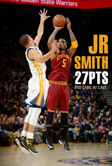 jr smith scores gamehigh 27 points vs the warriors