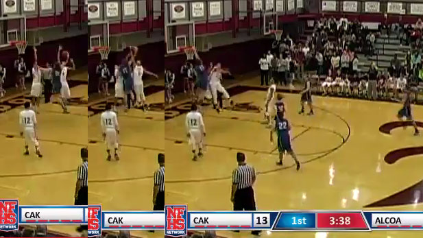 HS player Lucas Campbell steals the inbound pass then dunks on 2 players