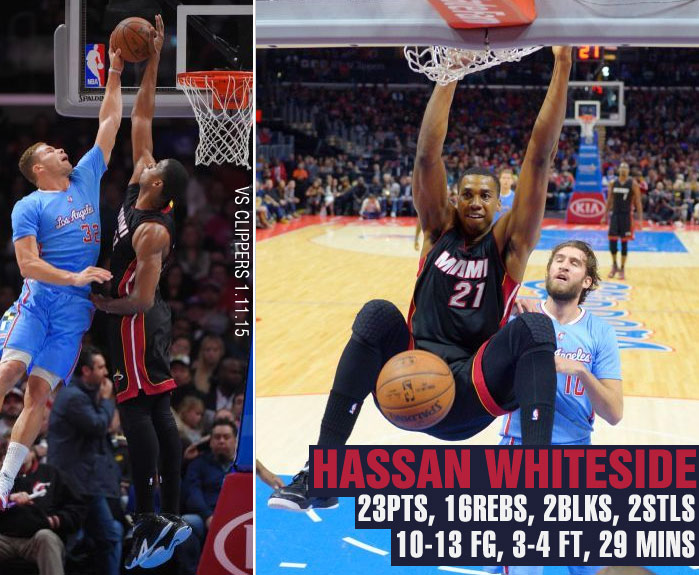 Hassan Whiteside dominates Clippers w/ 23pts & 16rebs in 29mins