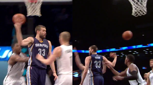 "Marc ""Spanish Magic"" Gasol with the no-look behind his head pass to Tony Allen"