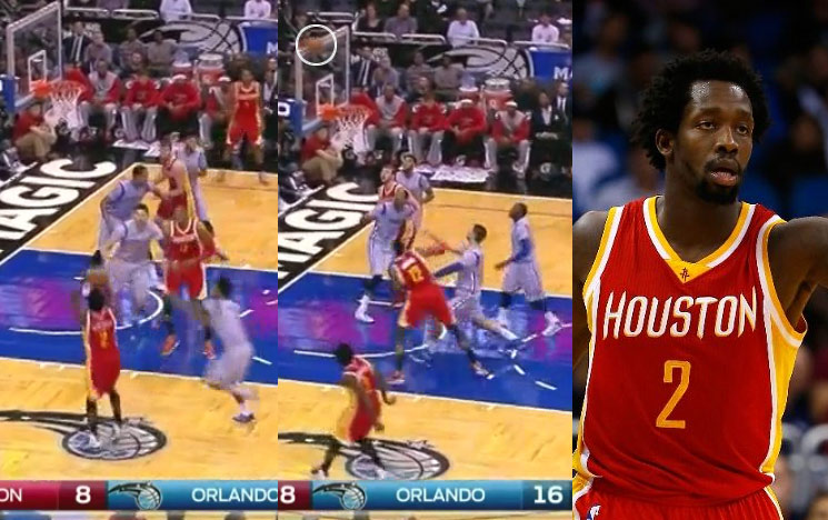 Patrick Beverley hits the top corner of the backboard on a bank shot attempt