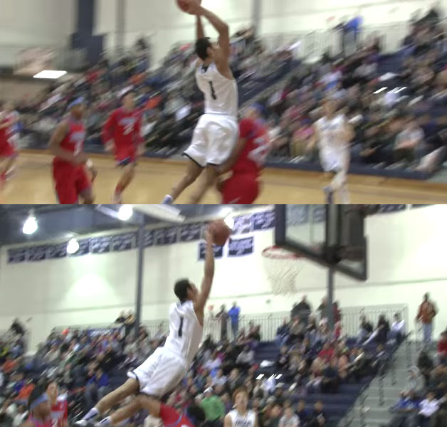 HS Senior Mikhail Myles reenacts Marcus Camby's dunk on Tim Duncan