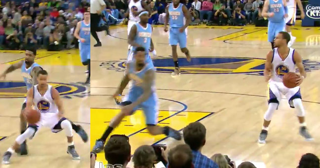 Steph Curry with the ankle-breaking step-back move on Wilson Chandler