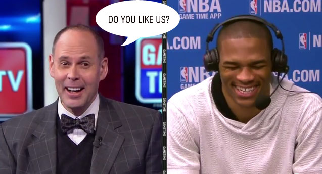 """Ernie Johnson asks Russell Westbrook about """"execution"""" and """"do you likes us"""""""
