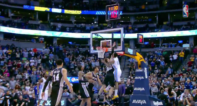 Wilson Chandler throws down an alley-oop poster dunk on Tiago Splitter
