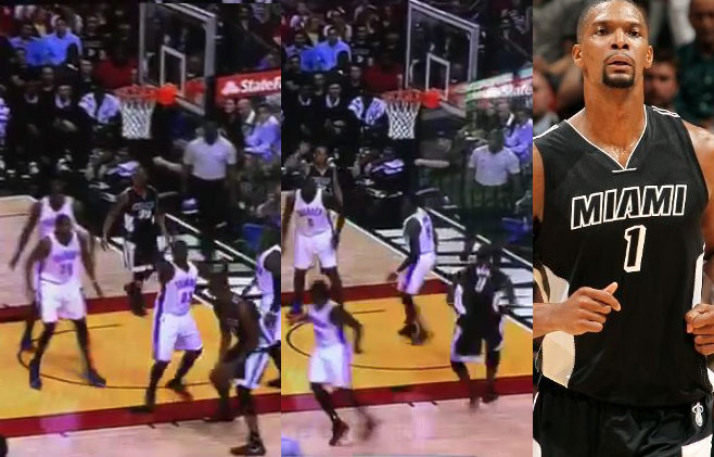 Chris Bosh with the uncontested dunk after faking out Waiters & Durant