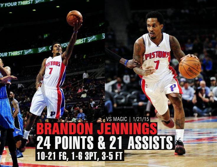 Brandon Jennings 24 points & career-high 21 assists vs Magic