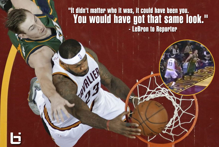 """LeBron dunks and then glares at Gordon Hayward, Gordon says """"LeBron can pretty much bully anybody if he wants to"""""""