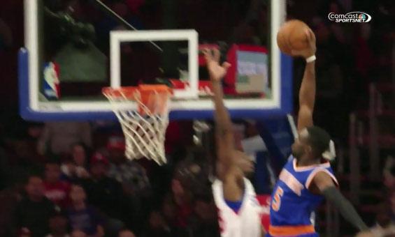 Jerami Grant blocked 8 shots vs the Knicks, including this dunk attempt by Tim Hardaway Jr