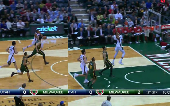 Giannis Antetokounmpo gathers the ball at the 3-point line & then dunks