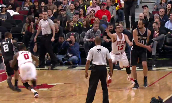 Manu with the behind the back pass to Patty Mills