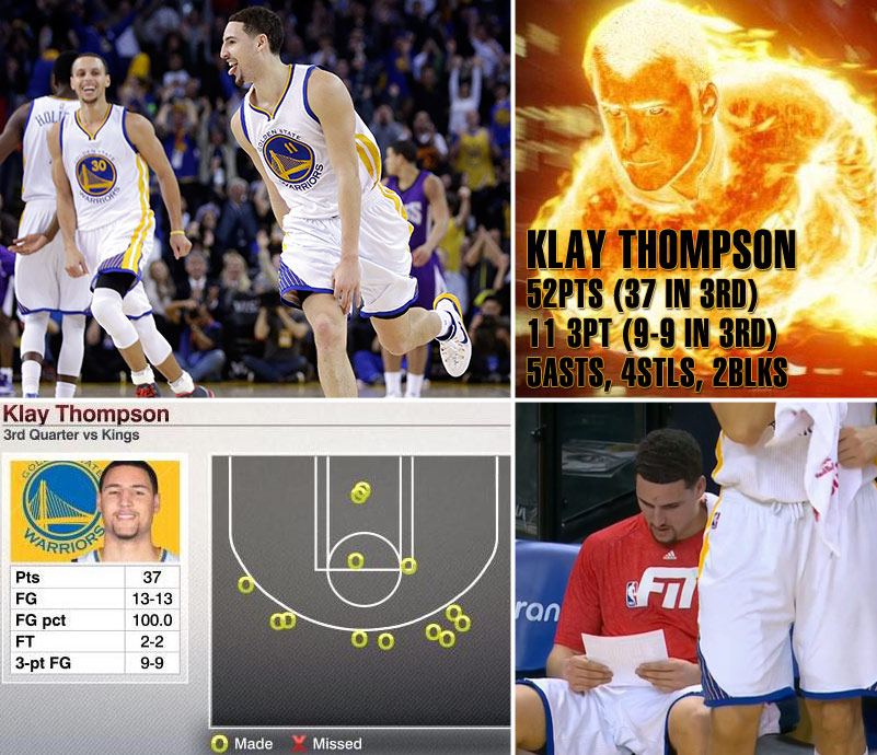 Klay Thompson scores career-high 52, NBA record 37 in a quarter