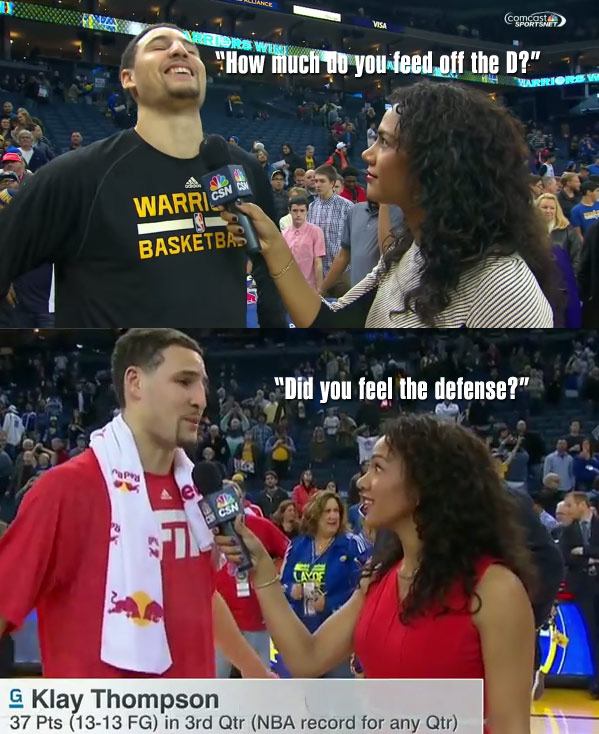 """Feed off the D"" Sideline Reporter Gets Redemption after Klay Thompson's 52 point game"