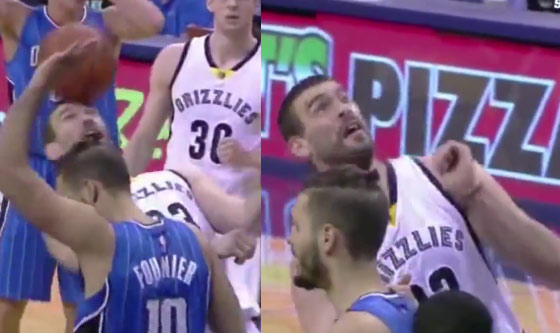 Marc Gasol showed off his soccer skills by trying to head ball a shot into the basket