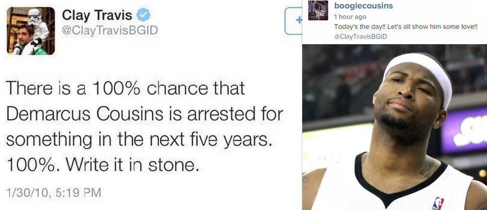 DeMarcus Cousins has a 100% chance of getting arrested by 5:19pm today…