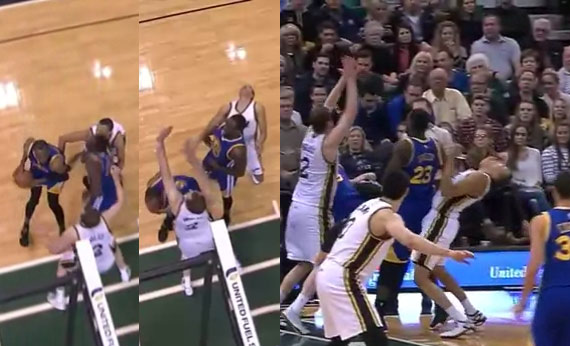 Dante Exum had to vomit after getting hit in the throat by a Draymond Green elbow