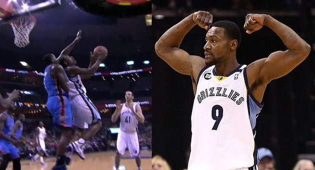 Tony Allen fakes out Collison & hits a circus shot over Kendrick Perkins
