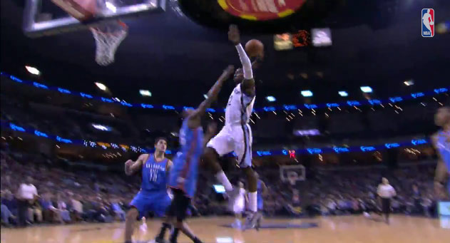 Jeff Green throws down a monster dunks against his former OKC team