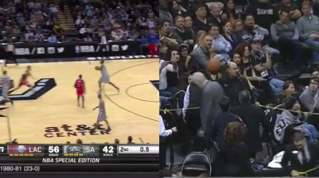 Boris Diaw's Half-Court Attempt Hits Coach Popovich in the Head – Pop doesn't give a damn!