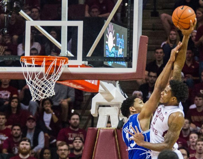 FSU's Phil Cofer throws down a monster and-1 dunk over Duke's Jahlil Okafor