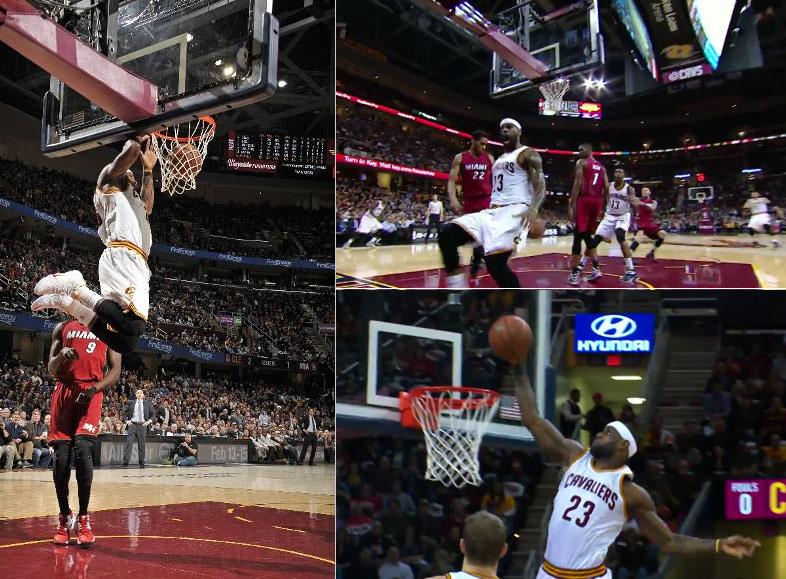 LeBron & the Cavs held a dunkfest against Whiteside's Heat