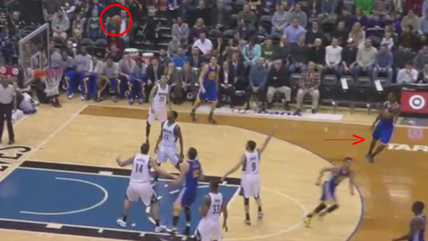 Steph Curry turns around before the shot goes in