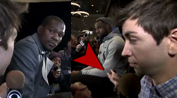 David Letterman Intern annoys Kevin Durant & tries to touch LeBron at All-Star weekend